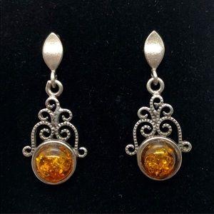 Amber Sterling Silver Drop Earrings Scroll 925